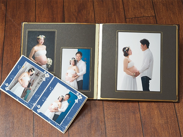 マタニティフォト「選べる台紙+6切写真1枚」の製品例