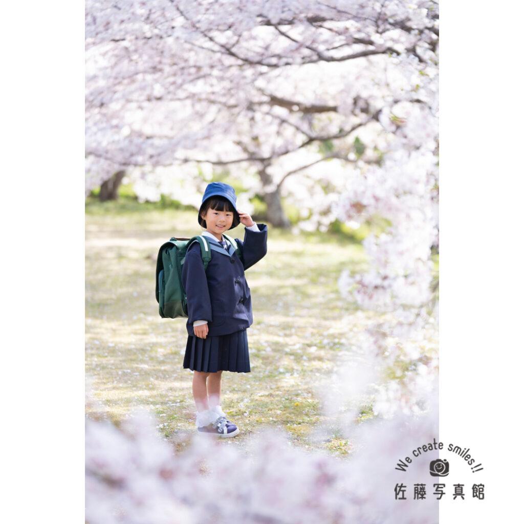 入学,桜,ロケフォト,小学生