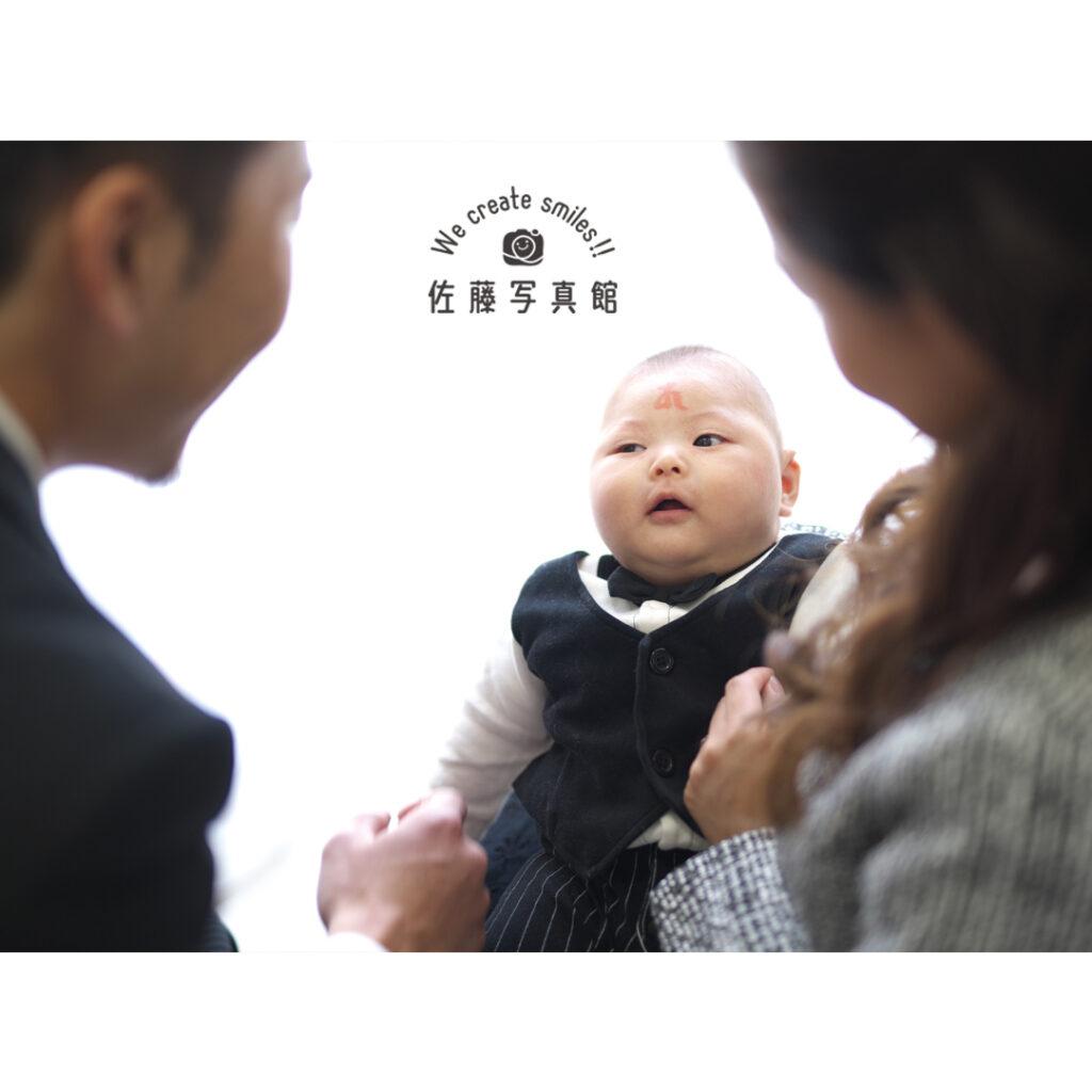 お宮参り,家族写真
